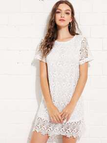 Floral Lace Overlay Swing Dress