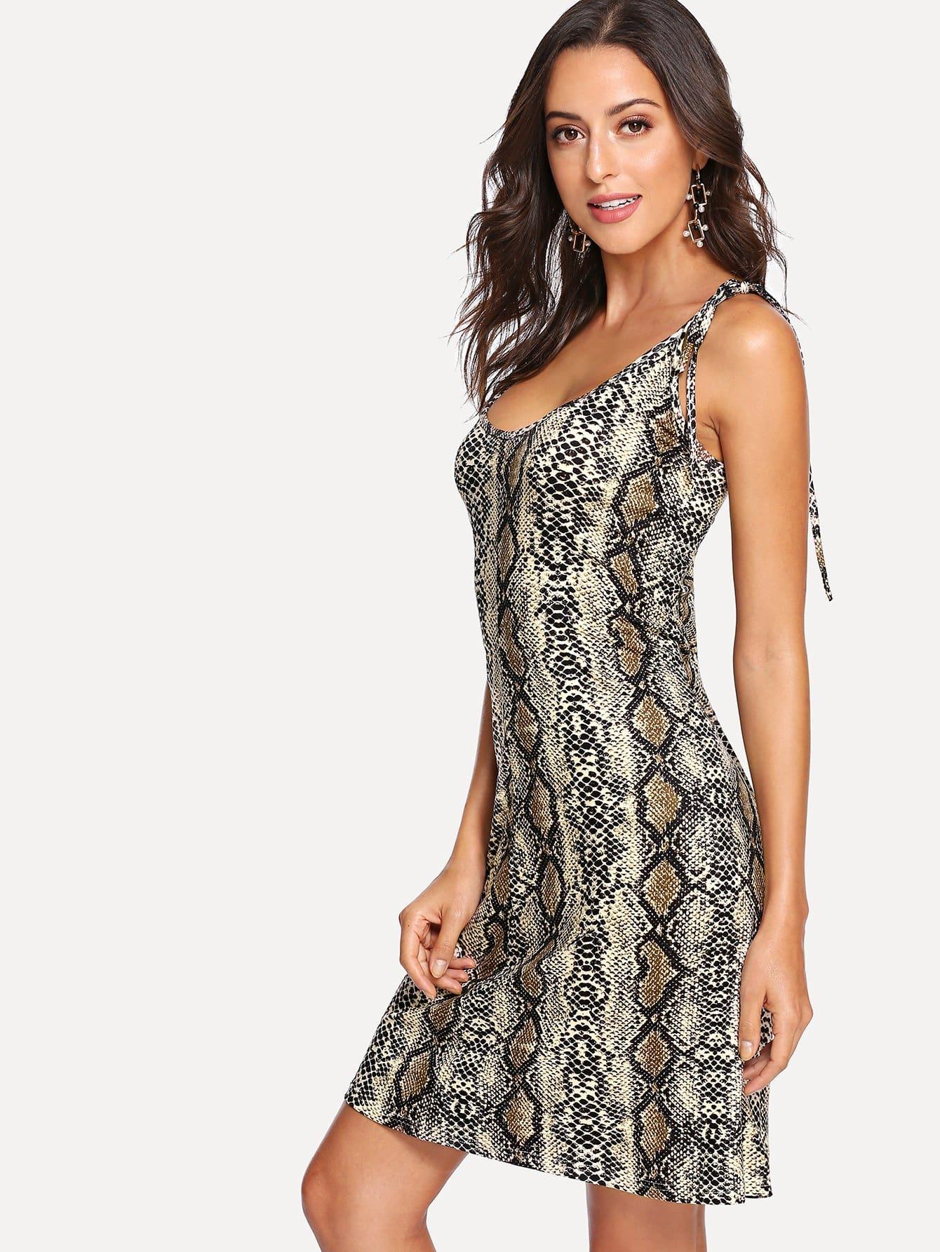 Купить Платье для галстуков Snake Print, Mary P., SheIn