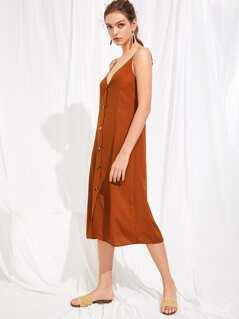 Button Through Solid Cami Dress