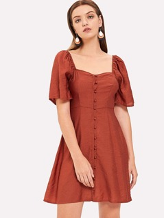 Button Up Square Neck Solid Dress