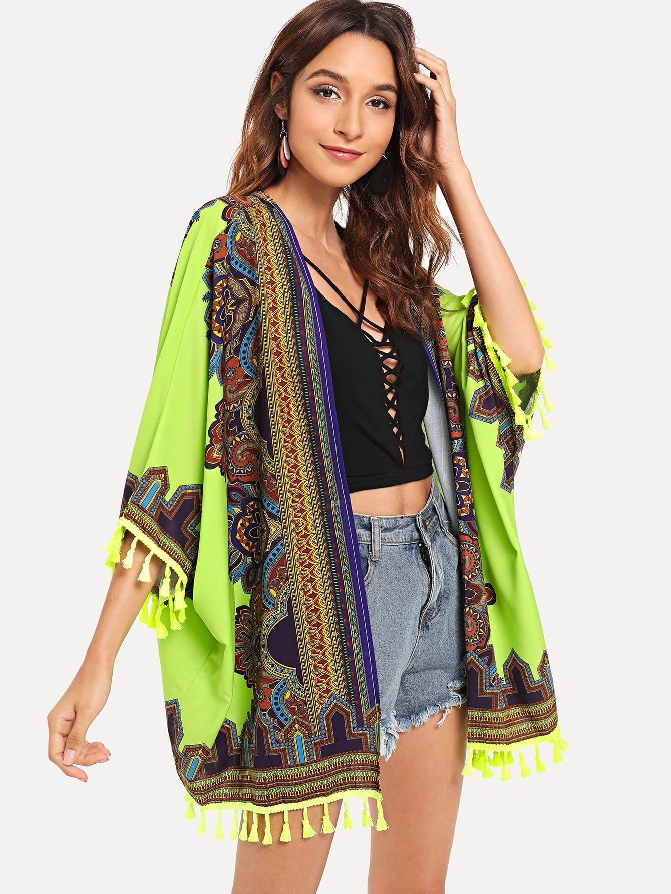 Купить Изысканная печать Кишечное кимоно, Gabi B, SheIn