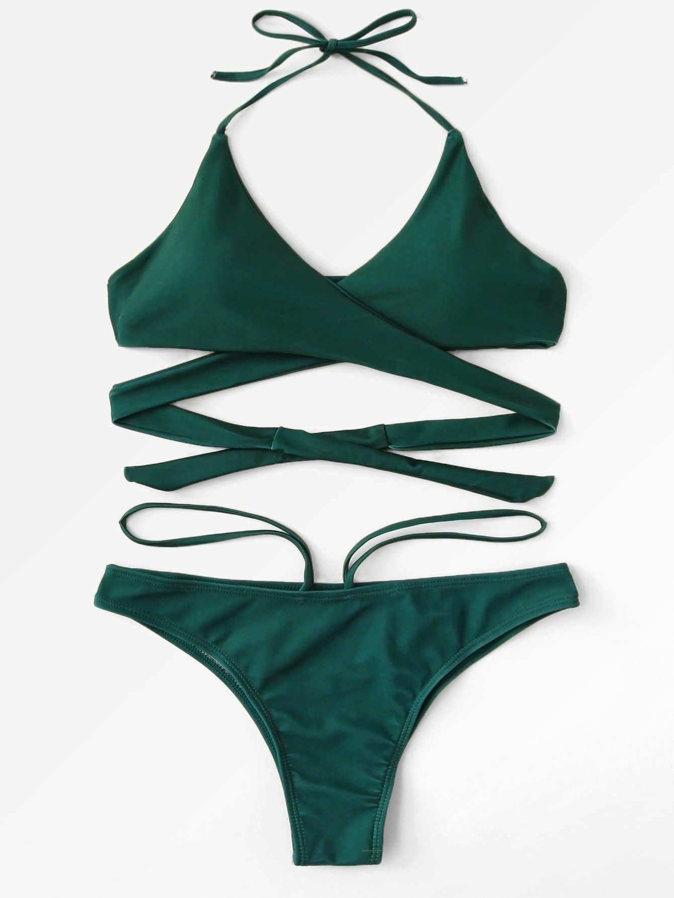 Halter Design Wrap Bikini Set halter patterned wrap bikini