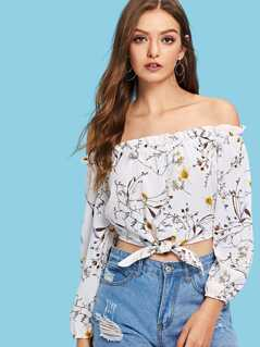 Frill Trim Botanical Knot Bardot Top