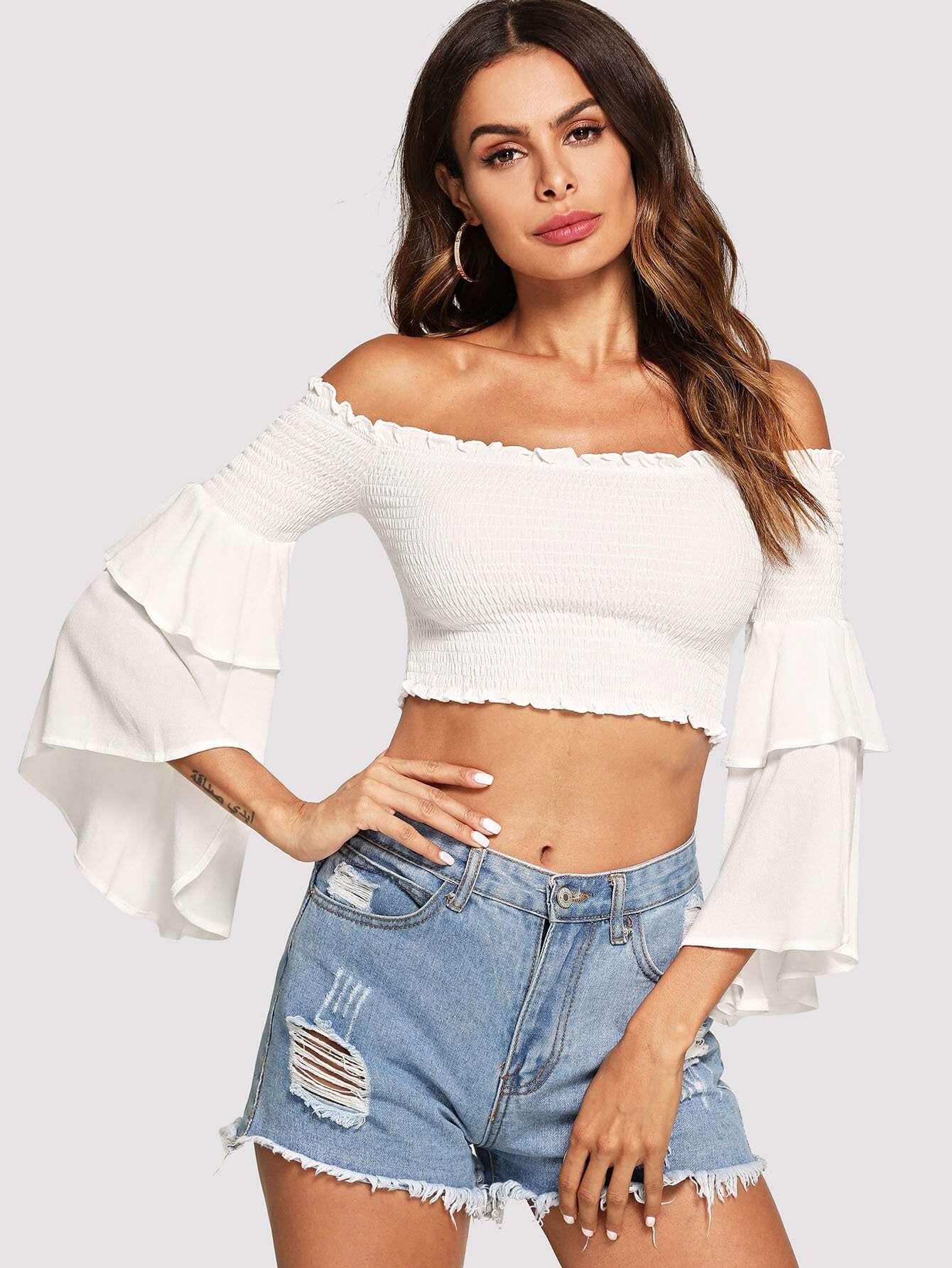 Купить Сломанная белая рубашка Shirred Bardot Top, Andy, SheIn