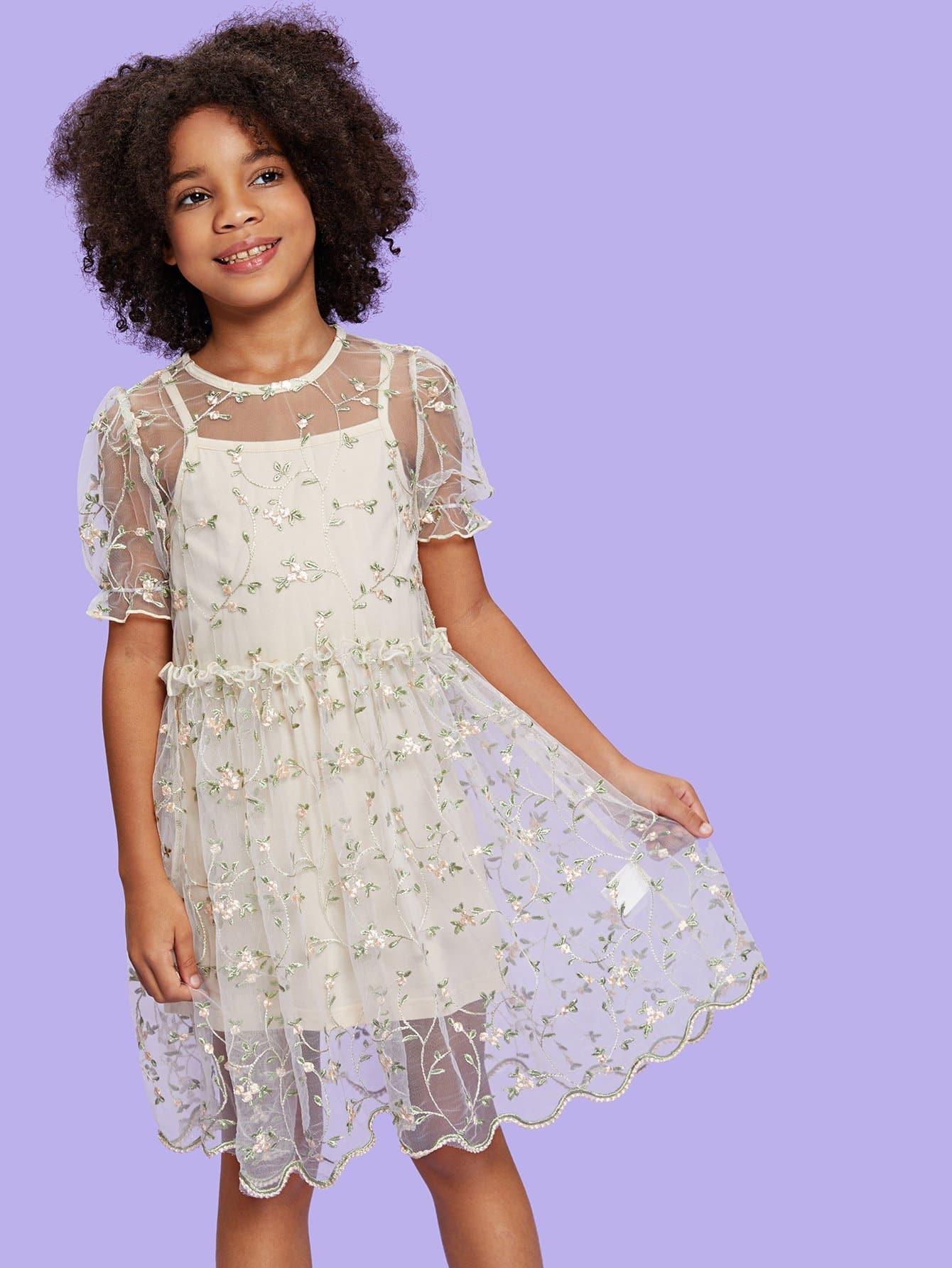 Купить Платье с вышивкой цветы и топ, null, SheIn