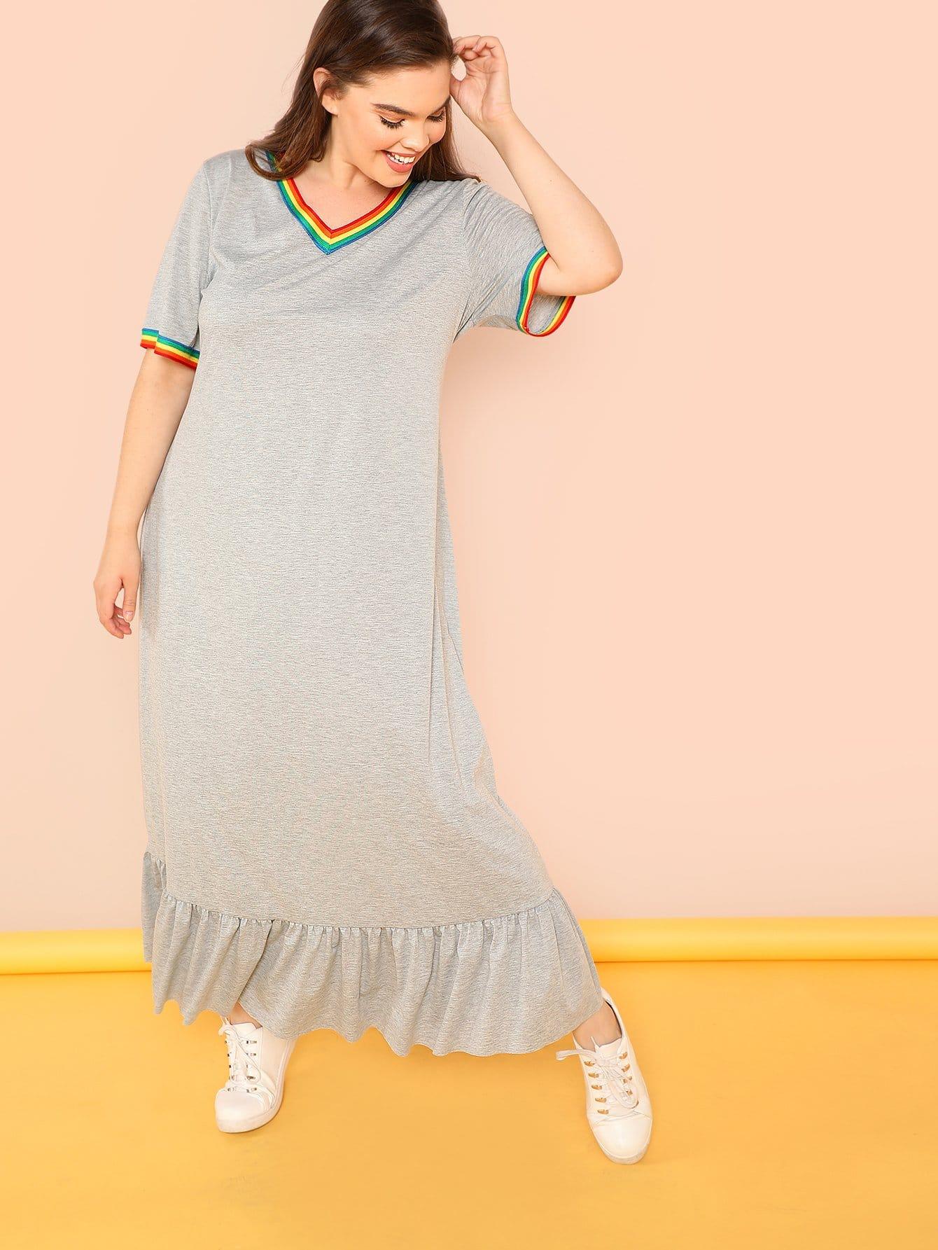 Plus Striped Trim Ruffle Hem Heather Grey Dress все цены
