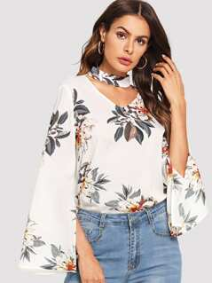 Cut V Neck Floral Print Top