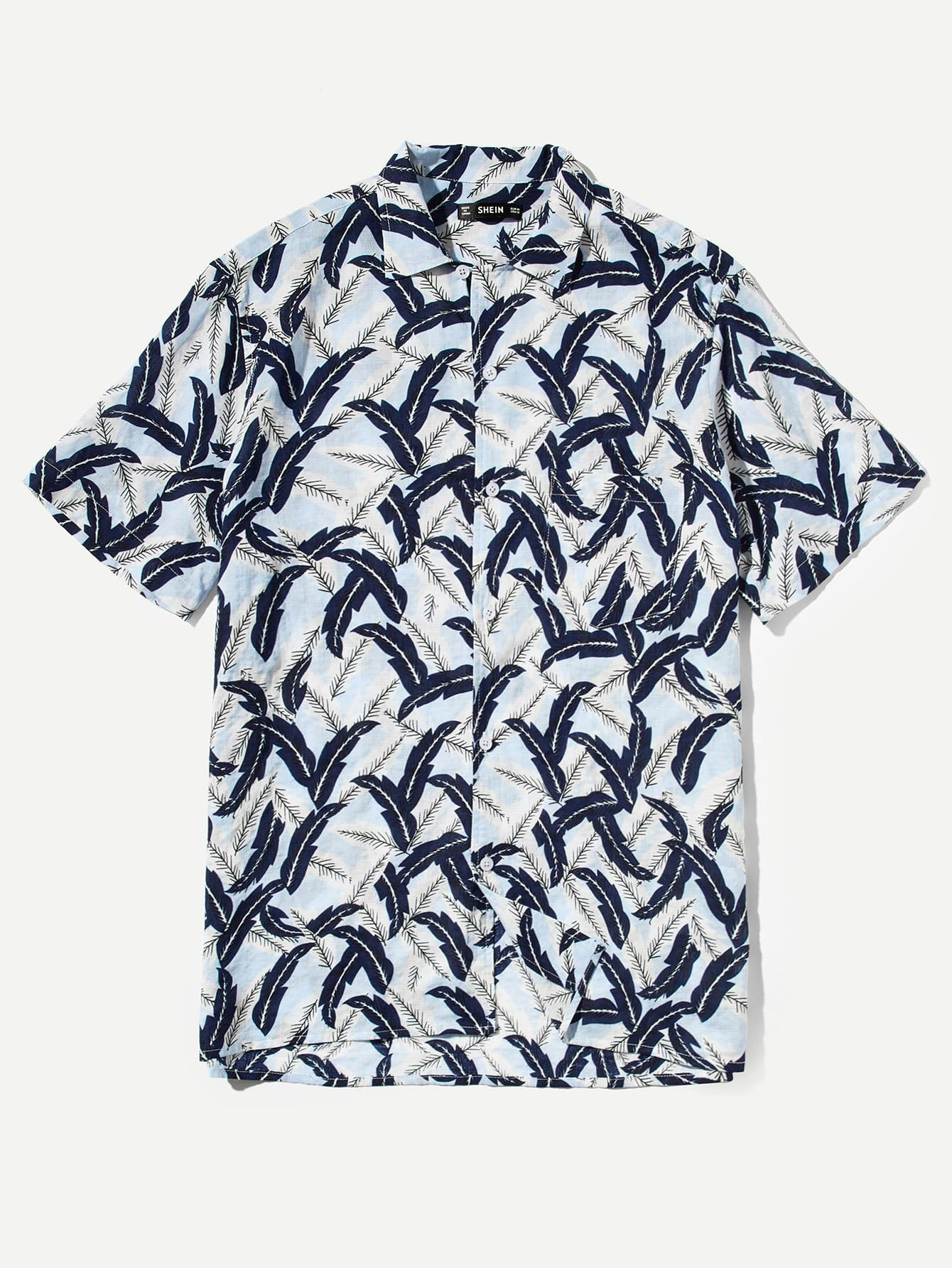 Мужская Allover Leaf Print Shirt