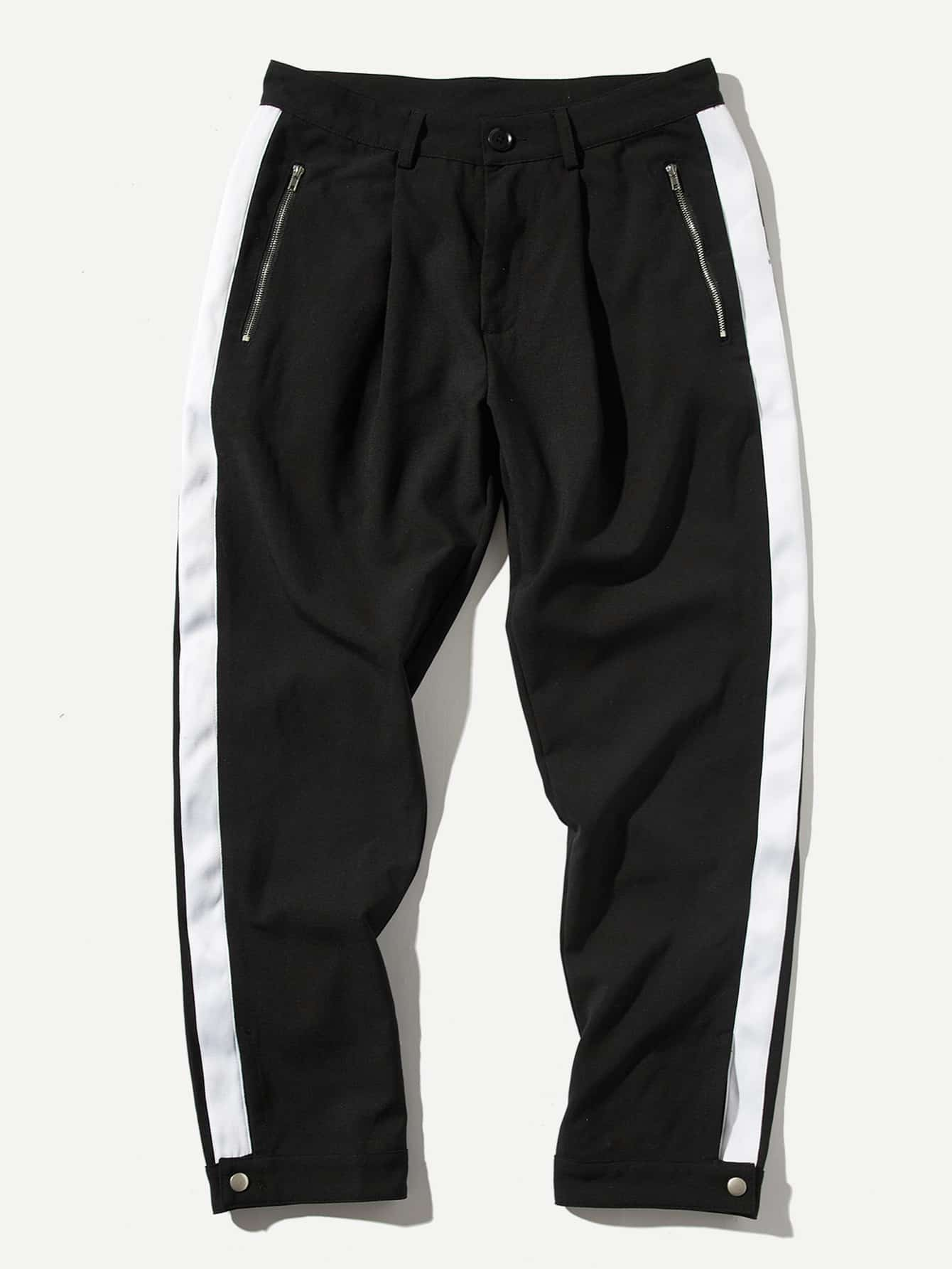 Мужская Zip Pocket Button Hem Tape Pants