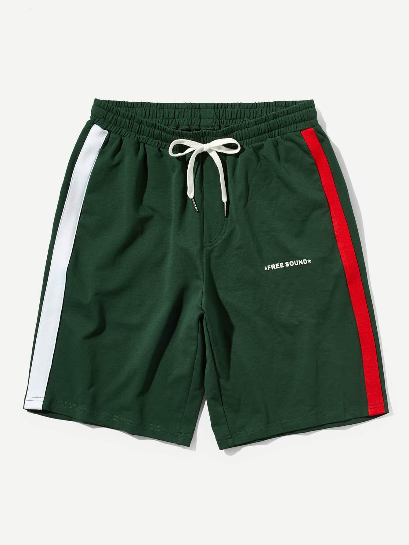 Men Striped Side Drawstring Waist Shorts men colorful striped drawstring shorts