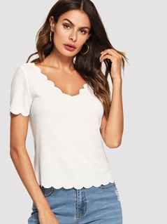 Scallop Trim Solid Tee