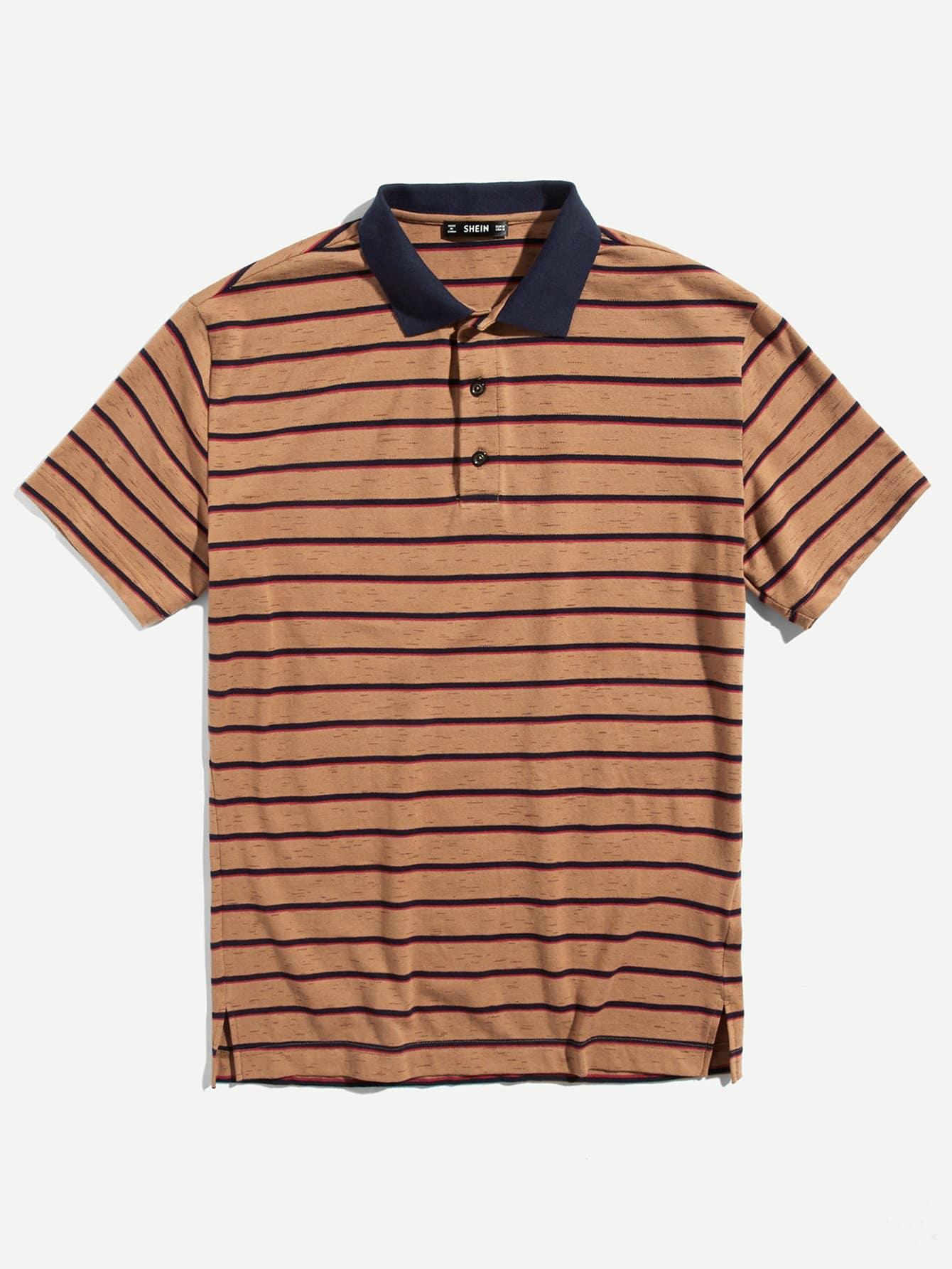 Купить Мужская полосатая рубашка-поло с контрастным воротником, null, SheIn