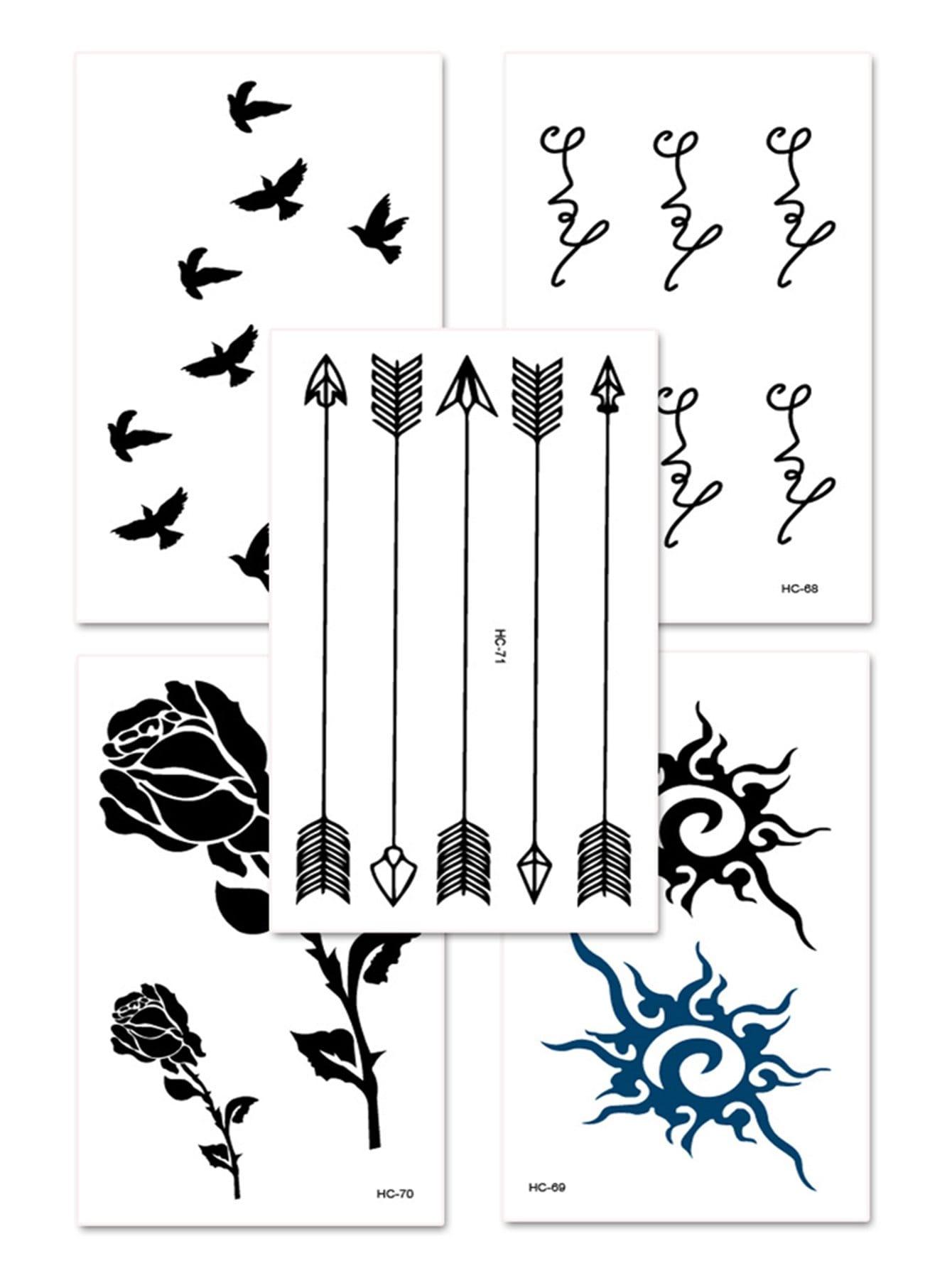 Купить Со цветочками Чёрный Татуировки, null, SheIn