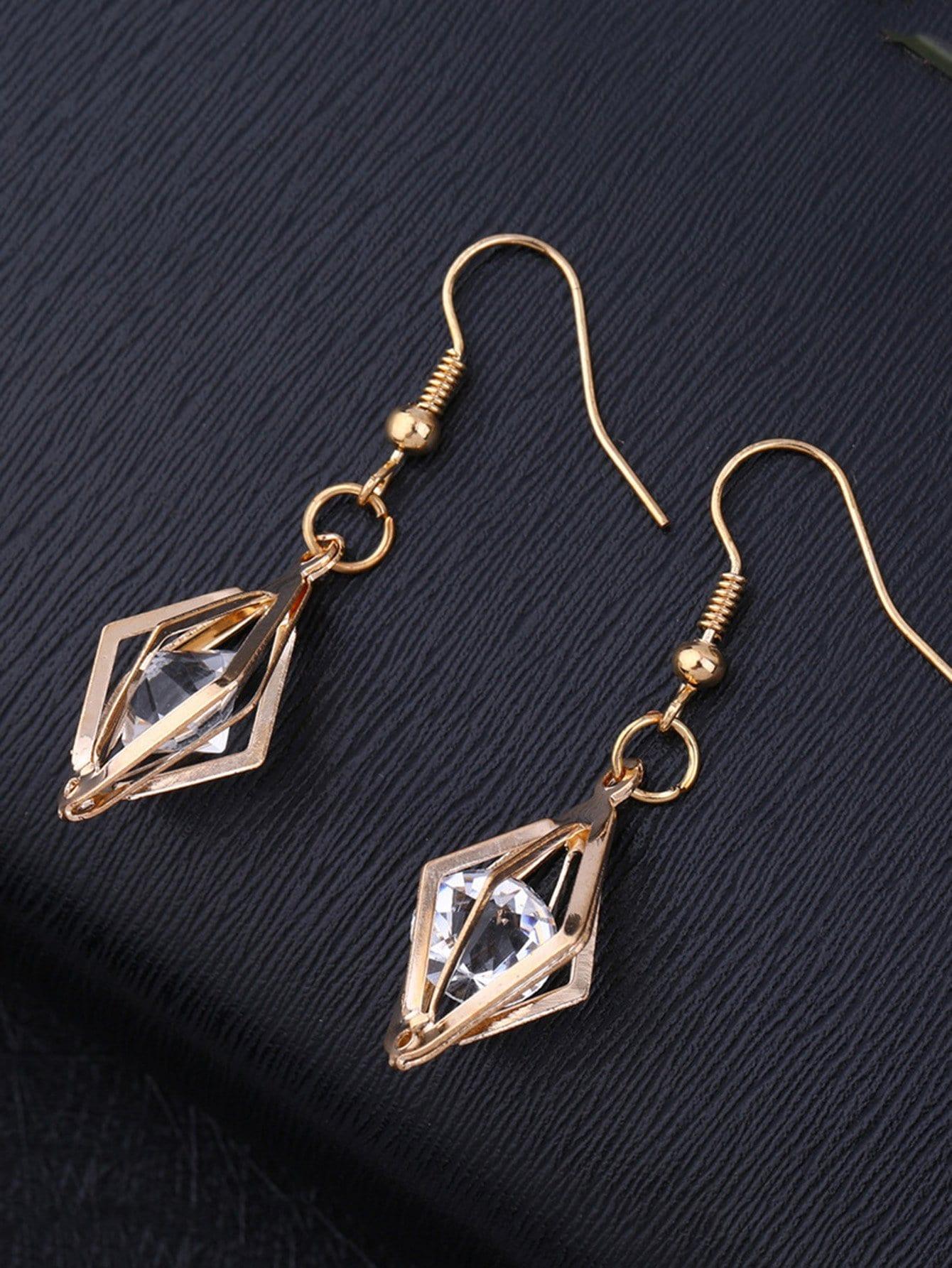Hollow Design Drop Earrings With Rhinestone
