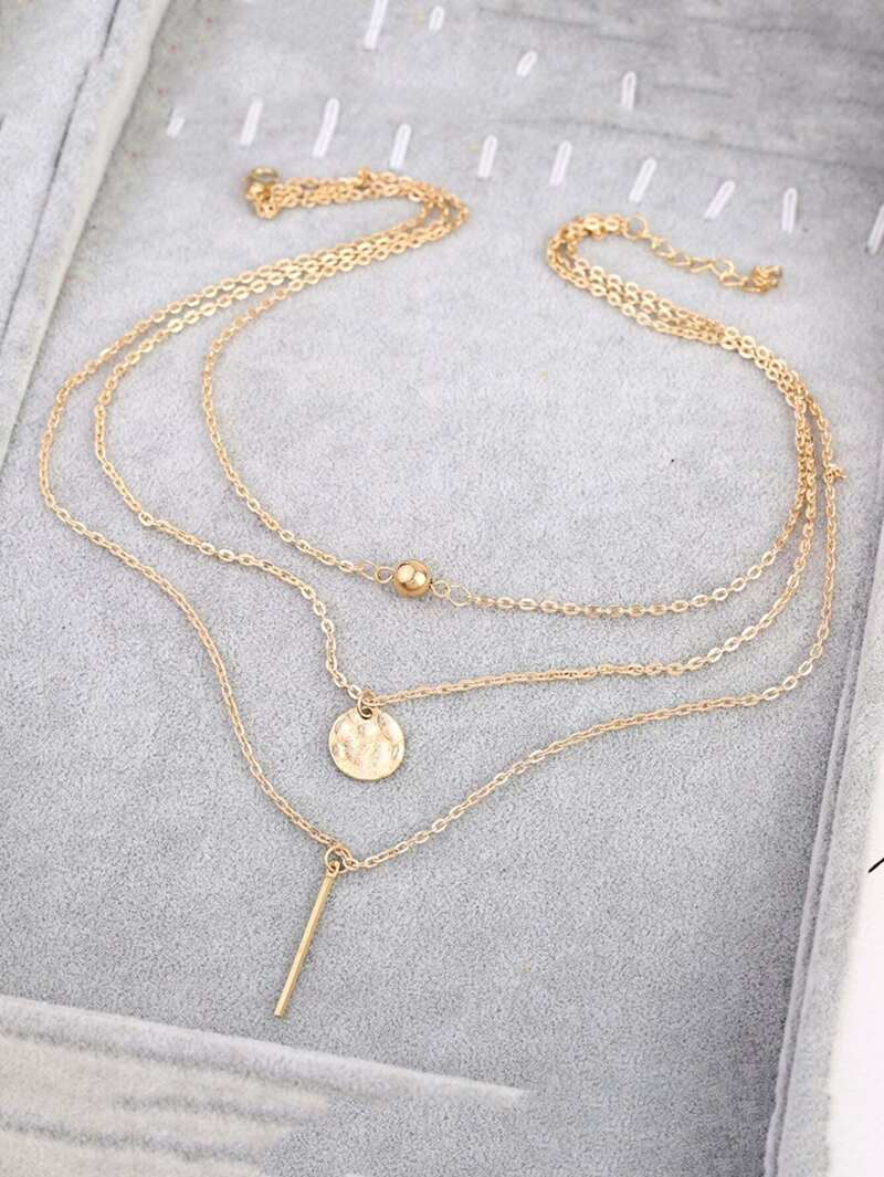 Bar & Ball Pendant Layered Chain Necklace, Gold