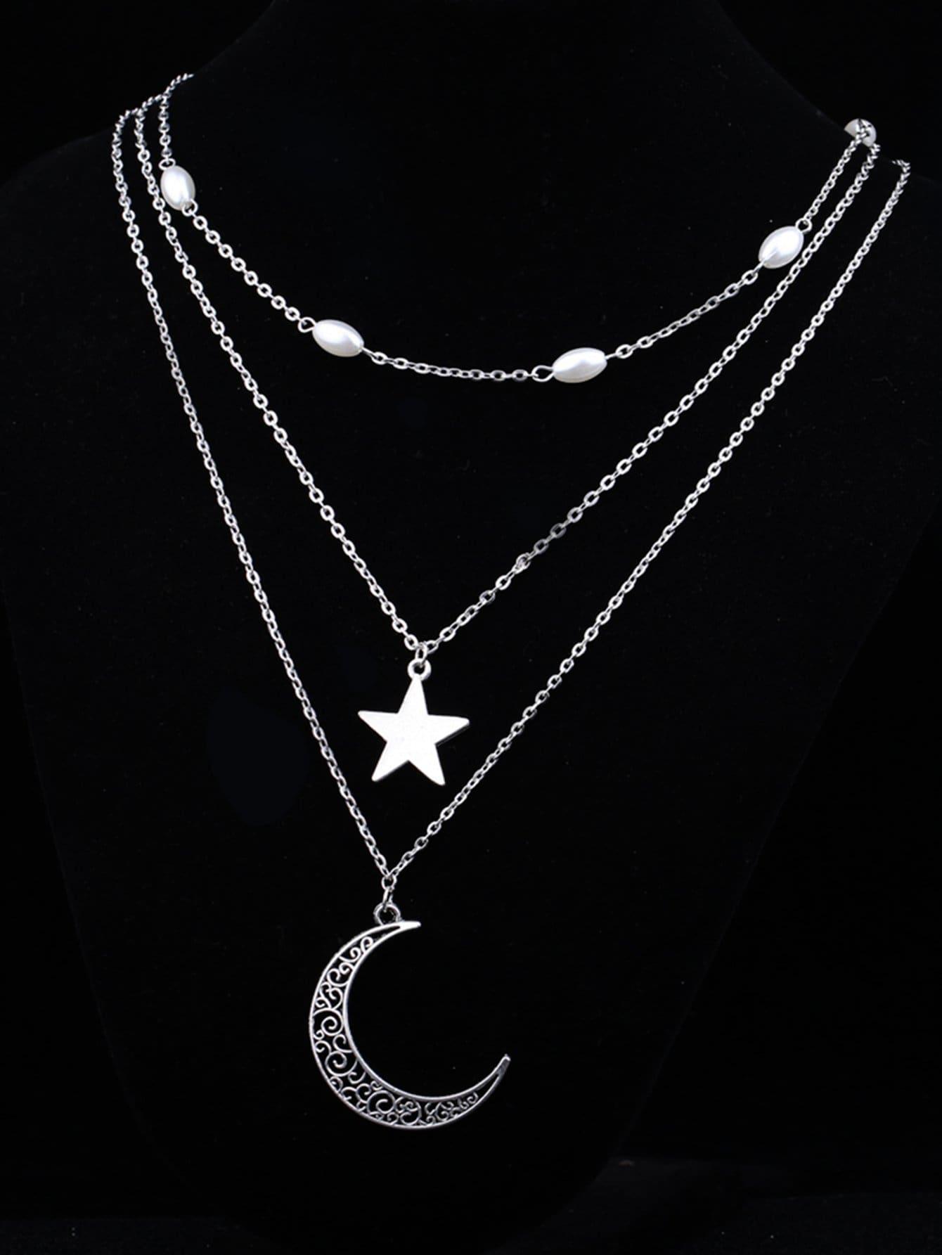 Mond & Stern Anhänger geschichteten Kette Halskette