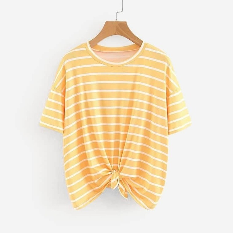 Drop Shoulder Knot Hem Tee, Yellow