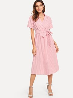 Waist Belted Wrap Striped Dress