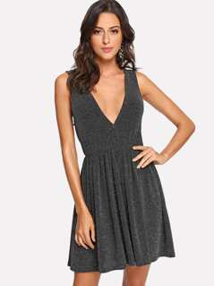 Deep V-Neck Glitter Shell Dress