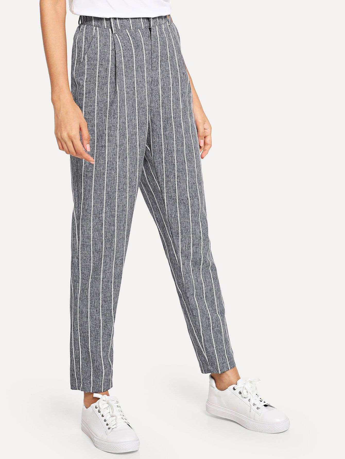 Купить Наклонные карманные полосатые штаны, Gabi B, SheIn