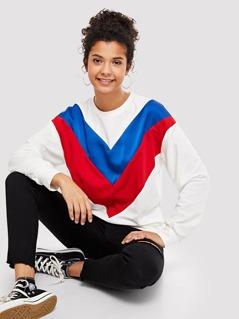 Color Block Tunic Sweatshirt