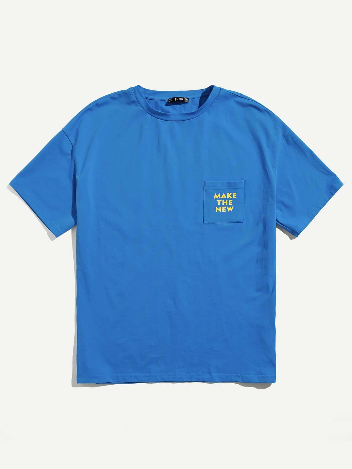 Men Pocket Front Letter Tunic Tee kids letter print pocket tee