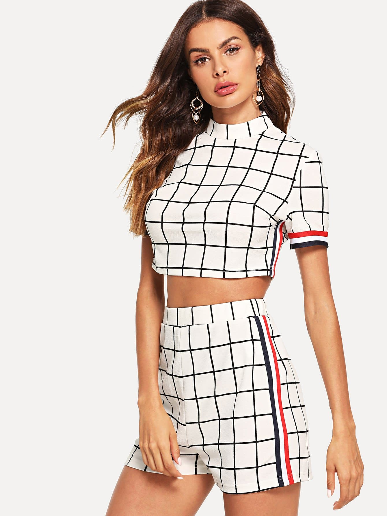 Smock Neck Plaid Crop Top & Shorts Co-Ord black choker sleeveless crop top