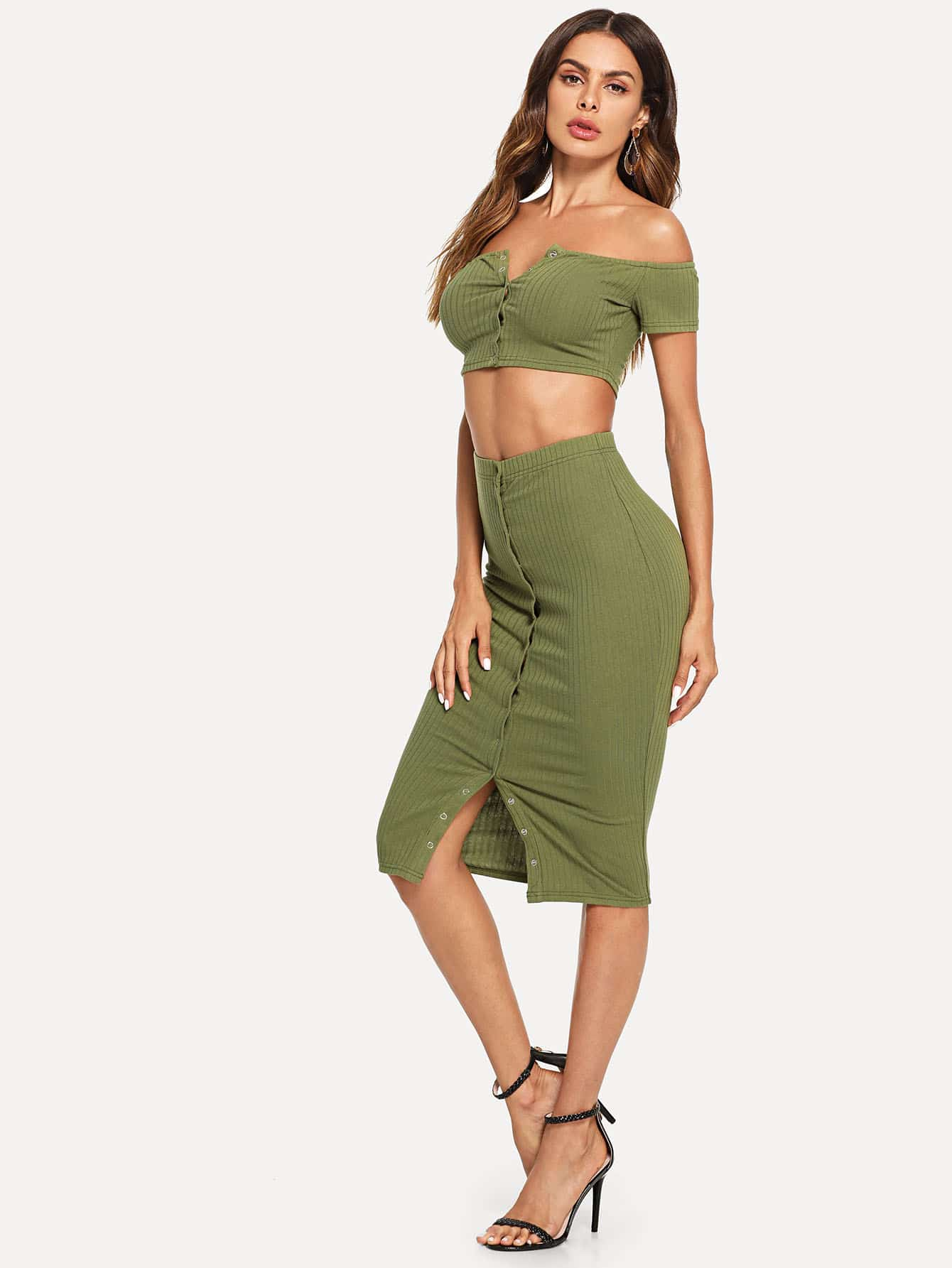 Купить Off Плечевая кнопка Ribbed Knit Top & Bodycon Skirt Co-Ord, Andy, SheIn