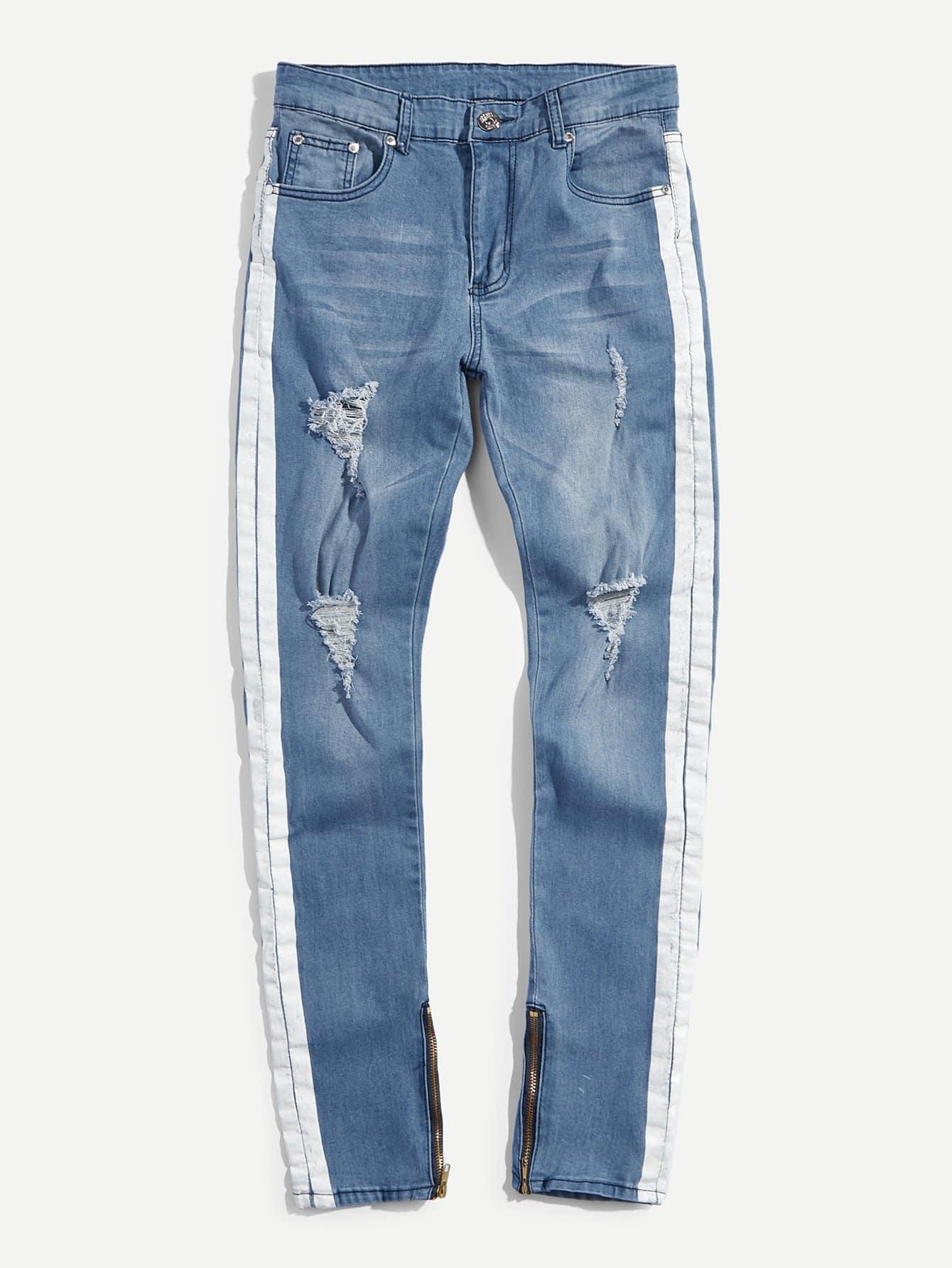 Men Tape Side Destroyed Skinny Jeans destroyed skinny jeans