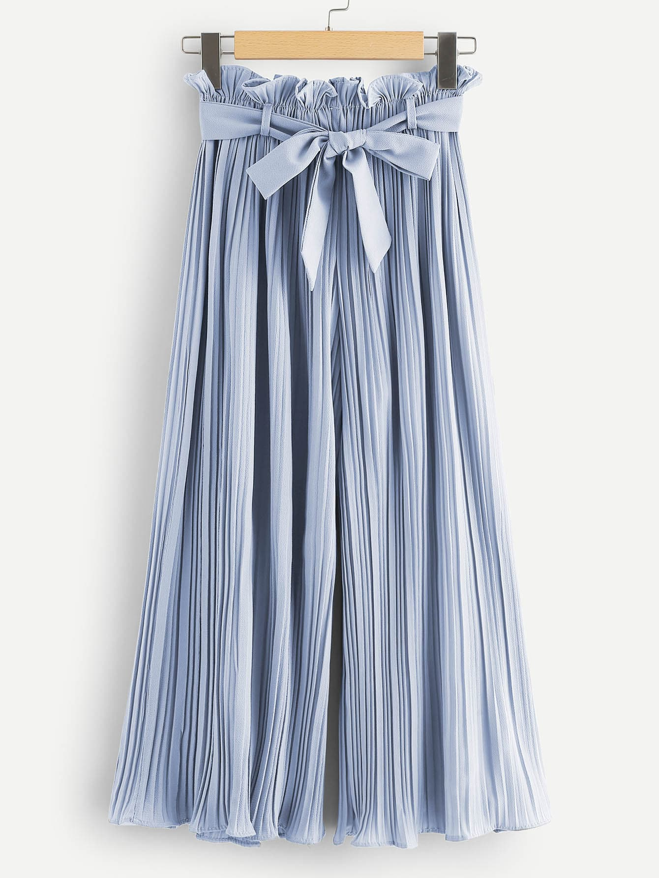 Self Tie Waist Frill Trim Pleated Pants frill trim bow tie front pants