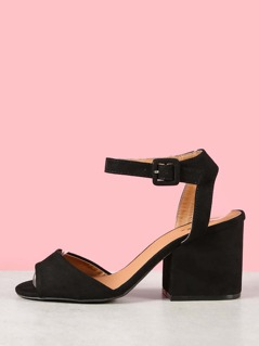 Faux Suede Ankle Strap Block Heels