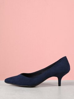 Faux Suede Kitten Heel Pumps