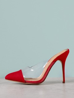 Pointed Faux Suede Plexi Pumps