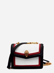 Contrast Trim Flap Bag