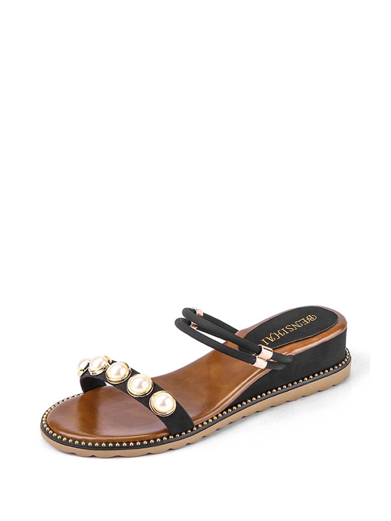 Faux Pearl Convertible Strap Sandals