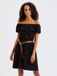Flounce Layered Neck Buttoned Dress