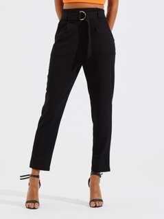 Belted High Waist Peg Leg Utility Pants
