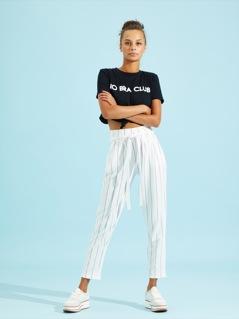 Vertical Stripe Belted Peg Leg Pants