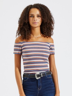Off Shoulder Striped Rib Knit Tee