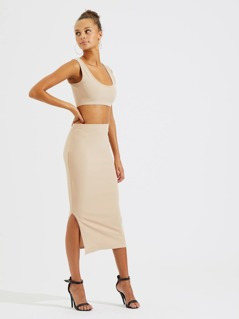 Solid Tanks Cropped Tops & Pencil Skirt