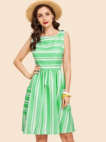 Dual Pocket Stripe Dress