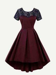 Lace Panel V Neckline Back Dress