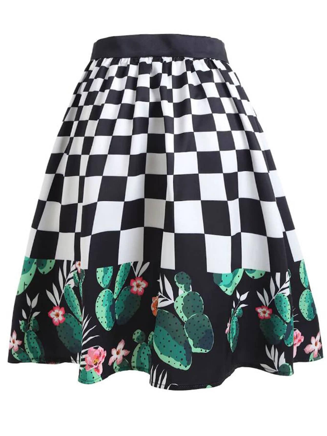 Cactus & Plaid Print Skirt