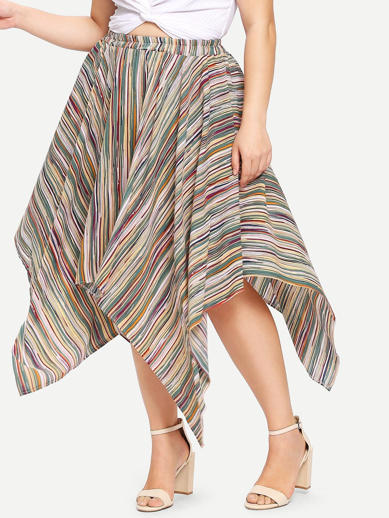 Plus Asymmetrical Hem Stripe Skirt