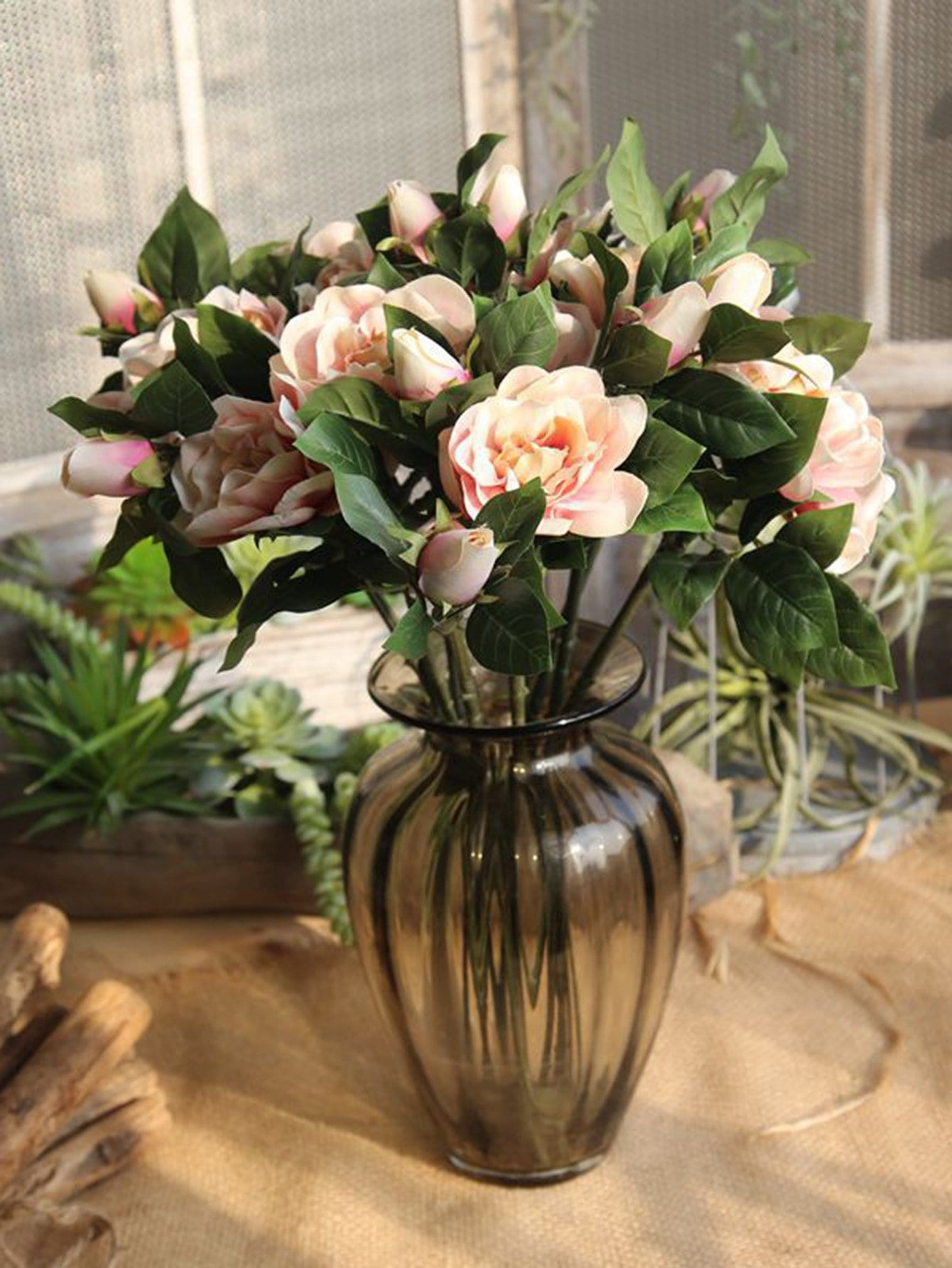 Artificial Camellia Steam With 3pcs Flower