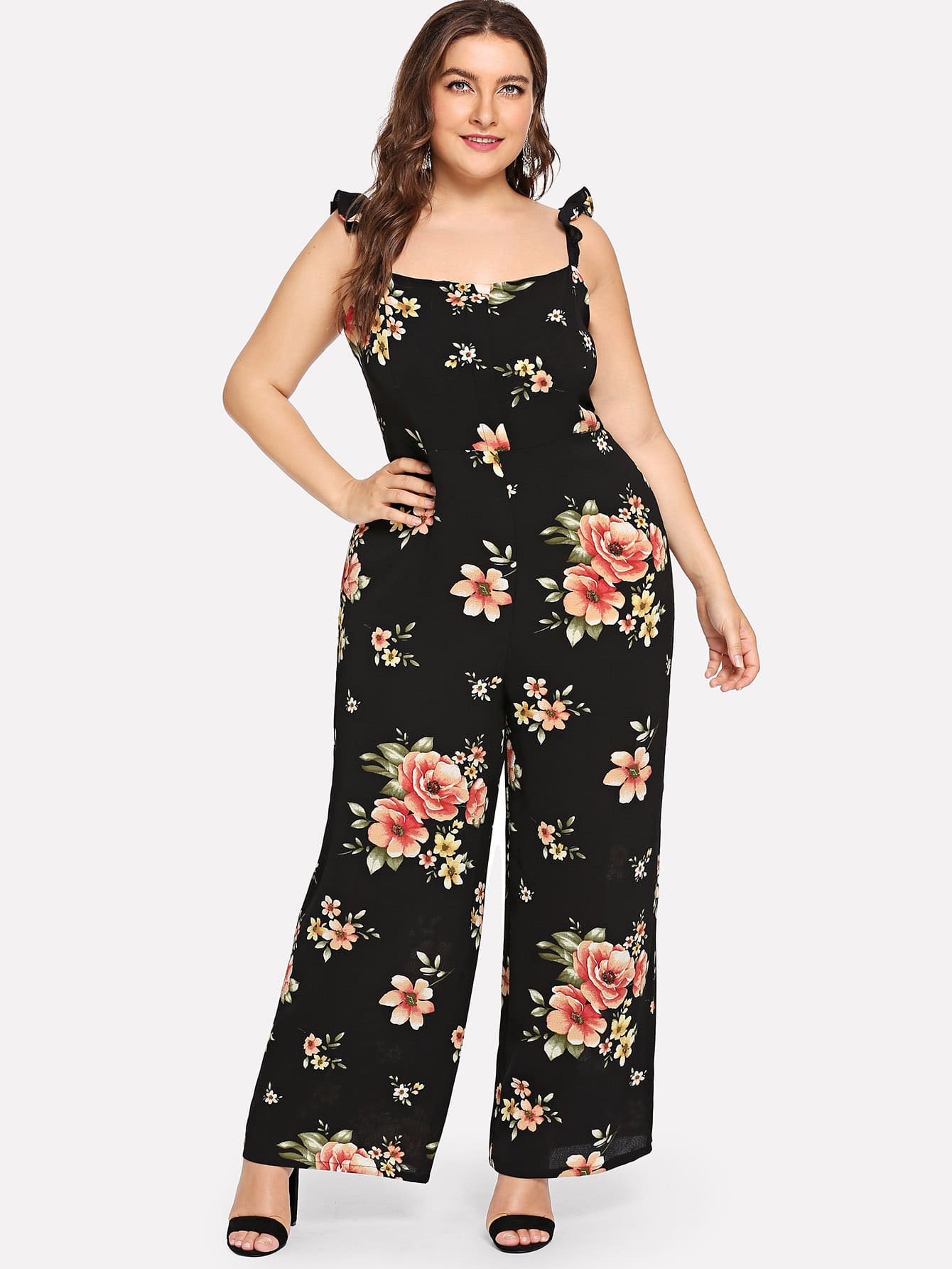 Plus Flower Print Wide Leg Cami Jumpsuit girls flower embroidered wide leg jumpsuit