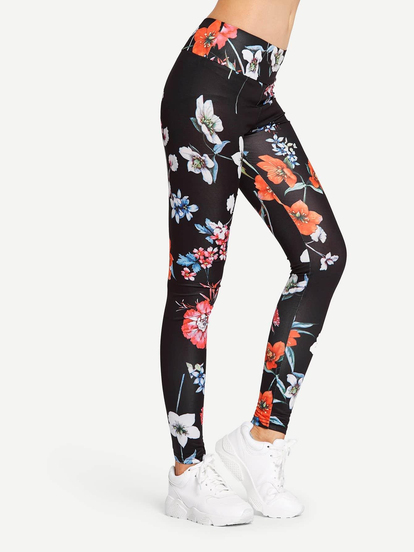 Flower Print Wide Waist Leggings wide waist camo print leggings