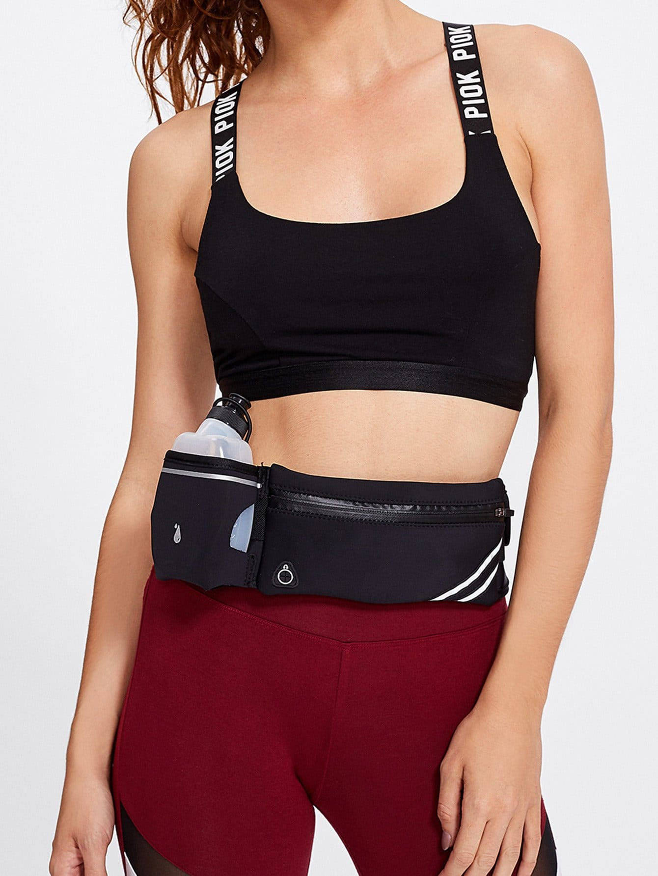 Striped Detail Bum Bag With Pocket