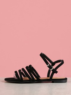 Multi Strap Faux Suede Sandals