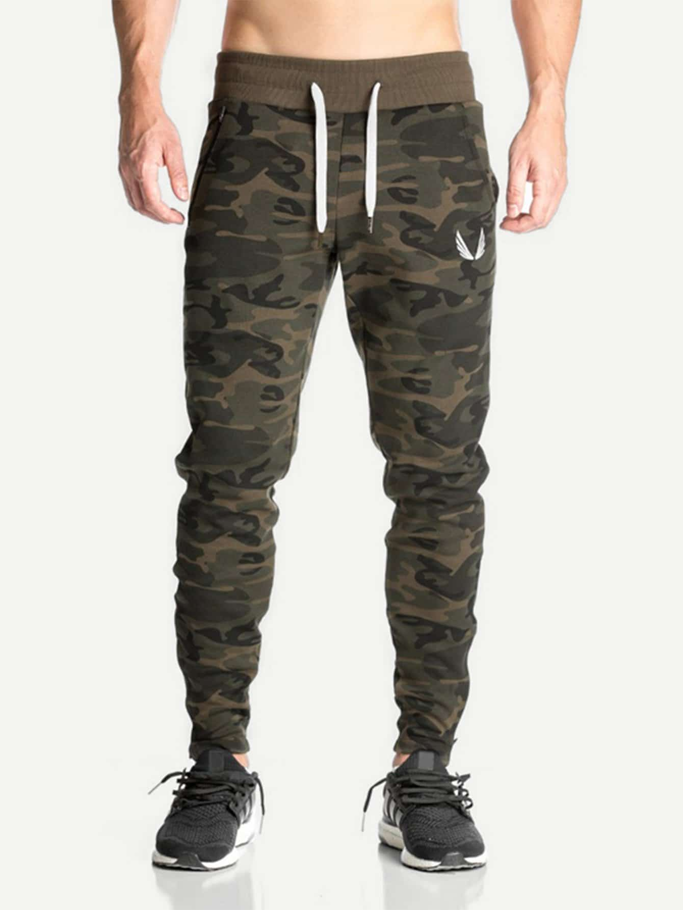 Men Camo Print Drawstring Waist Pants idopy men s street style denim pants camouflage camo joggers stretchy drawstring biker cargo pants for hipster